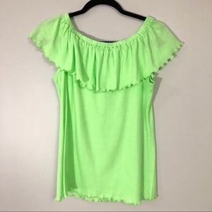 Soft surroundings neon green blouse